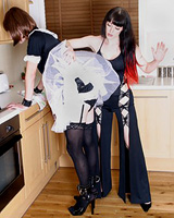 Aarkeybabble : Now that's a naughty maid, restraints all ready, and bent over