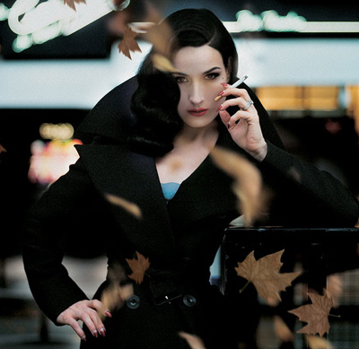 Aarkeybabble : Dita Von Teese - looking just insanely smoking hot with that cigarette