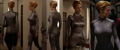 Aarkeybabble : Jeri Ryan as 7 of 9 - deliciously corseted in Star Trek