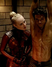 Aarkeybabble : Jessica Marais as the brutal leather clad dominatrix - Mistress Denna