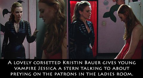 Aarkeybabble : A corsetted Kristin Bauer gives a stern talking to about eating the patrons at her bar.