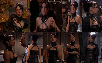 Aarkeybabble : Claudia Black looks like a leather Mistress in Stargate SG1